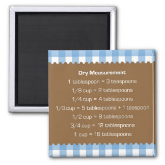 Blue gingham dry measure chart kitchen helper square magnet