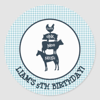 Blue Gingham Farm Theme Animal Birthday Classic Round Sticker