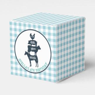 Blue Gingham Farm Theme Animal Birthday Favour Box