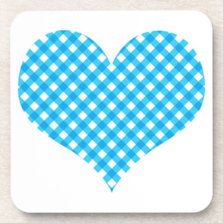 Blue Gingham Heart Design Coaster