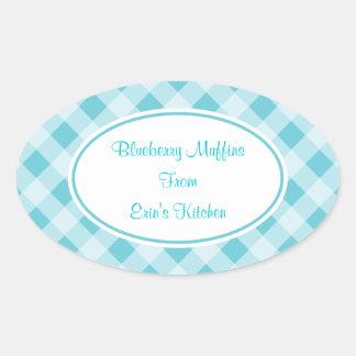 Blue Gingham Kitchen Stickers
