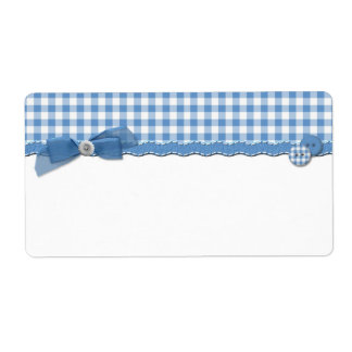 Blue Gingham Label Shipping Label