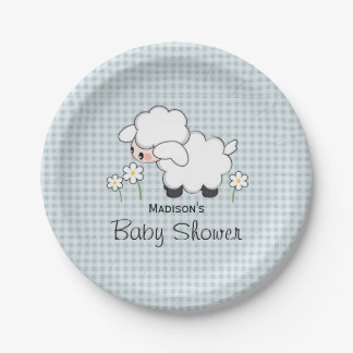 Blue Gingham Lamb Baby Boy Shower 7 Inch Paper Plate