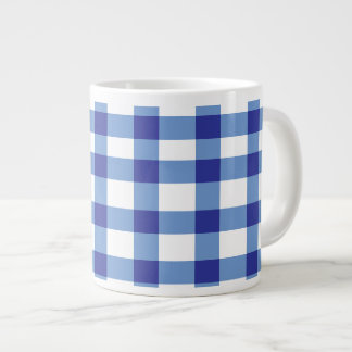 Blue Gingham Large Coffee Mug