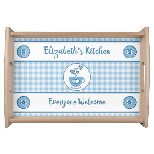 Blue gingham name kitchen serving tray