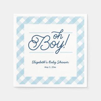 "Blue Gingham ""Oh Boy"" Baby Shower Napkins Paper Serviettes"