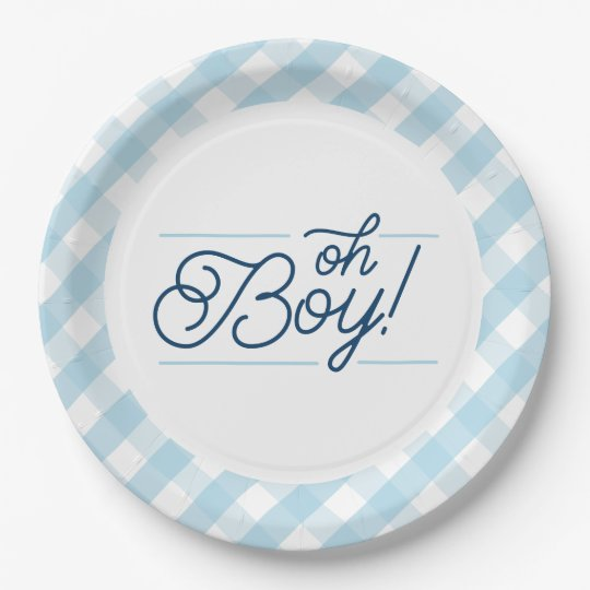 "Blue Gingham ""Oh Boy"" Baby Shower Paper Plates"