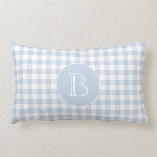 Blue Gingham Pattern Custom Monogram Lumbar Cushion