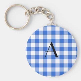 Blue gingham pattern monogram keychain