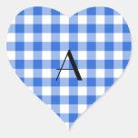Blue gingham pattern monogram sticker