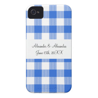 Blue gingham pattern wedding favors iPhone 4 Case-Mate cases