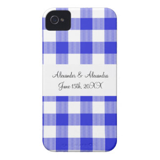 Blue gingham pattern wedding favors iPhone 4 Case-Mate case