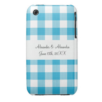 Blue gingham pattern wedding favors Case-Mate iPhone 3 cases