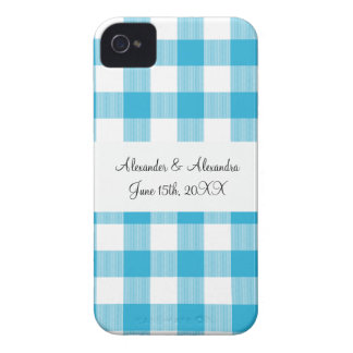 Blue gingham pattern wedding favors Case-Mate iPhone 4 case