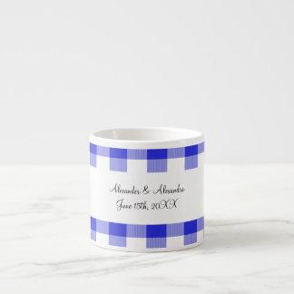 Blue gingham pattern wedding favors espresso cup