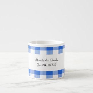 Blue gingham pattern wedding favors espresso mug