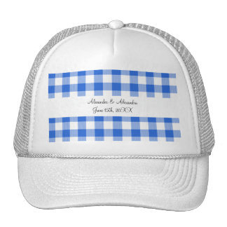 Blue gingham pattern wedding favors hats