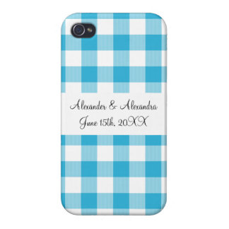 Blue gingham pattern wedding favors cover for iPhone 4