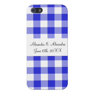 Blue gingham pattern wedding favors iPhone 5 case