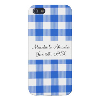 Blue gingham pattern wedding favors covers for iPhone 5