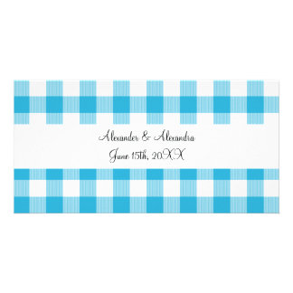 Blue gingham pattern wedding favors photo greeting card