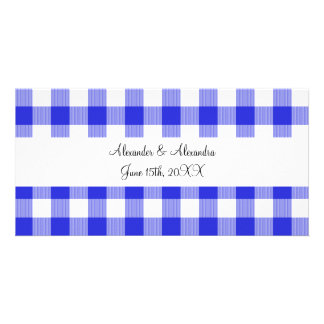 Blue gingham pattern wedding favors picture card