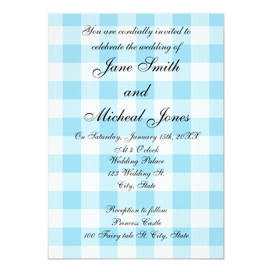 Blue gingham pattern wedding invitations