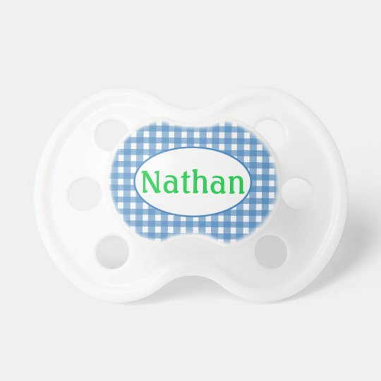 Blue Gingham Personalised Pacifier