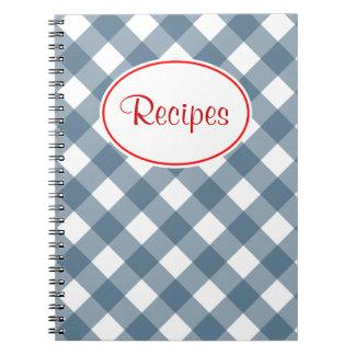 Blue Gingham Recipe Notebook