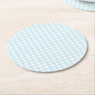 Blue Gingham Round Paper Coaster