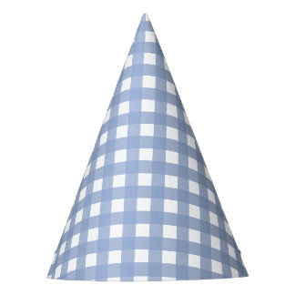 Blue Gingham Serenity Blue Design Party Hat