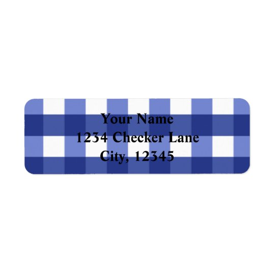 Blue Gingham Summer Country BBQ Chequered Label