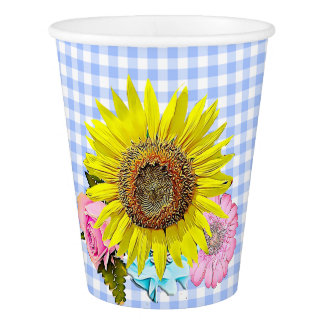 Blue Gingham Sunflower Pink Flower Paper Cup
