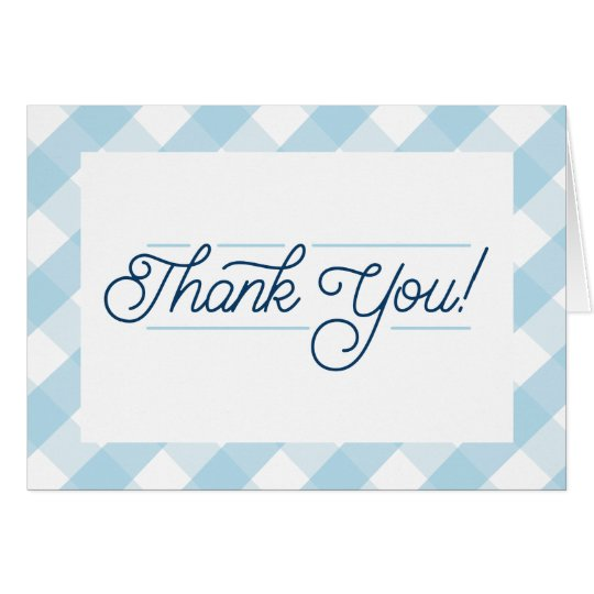 Blue Gingham Thank You Notecards Card