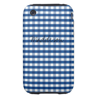 Blue Gingham Tough iPhone 3 Cover