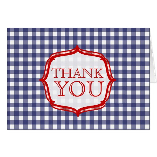 Blue Gingham With Red - Thank You Card