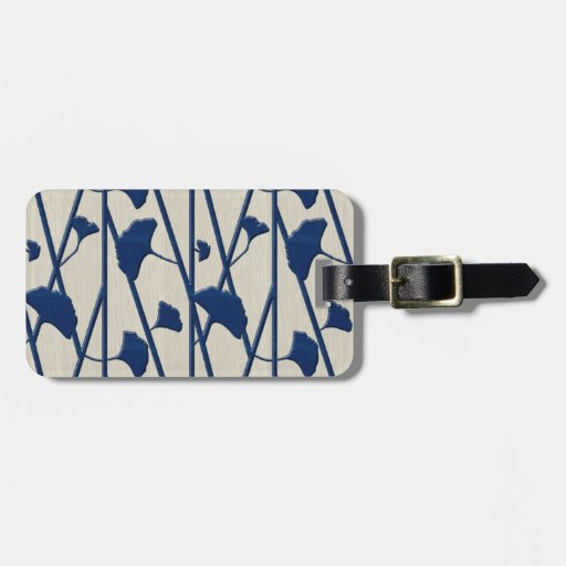 blue ginkgo luggage tag