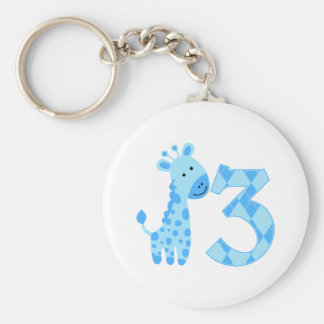 Blue Giraffe 3rd Birthday Keychain