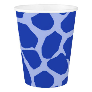 Blue giraffe animal abstract modern paper cup
