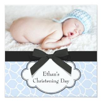 Blue Giraffe Baby Boy Photo Christening 13 Cm X 13 Cm Square Invitation Card