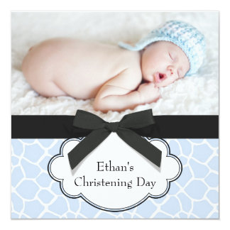 Blue Giraffe Baby Boy Photo Christening Card