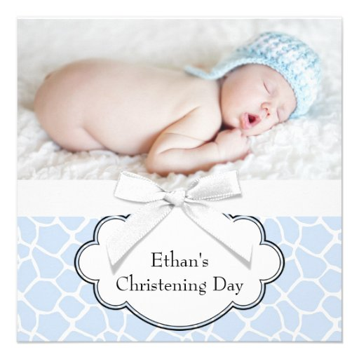 Blue Giraffe Baby Boy Photo Christening Personalized Announcements