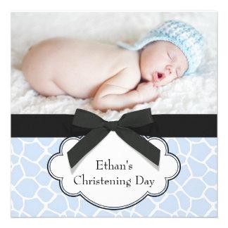 Blue Giraffe Baby Boy Photo Christening Announcements