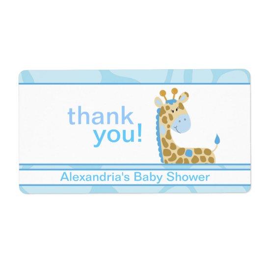Blue Giraffe Customised Large Water Bottle Sticker Shipping Label