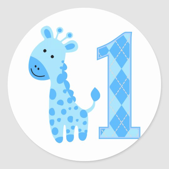 Blue Giraffe First Birthday Classic Round Sticker