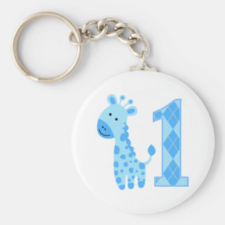 Blue Giraffe First Birthday Keychain