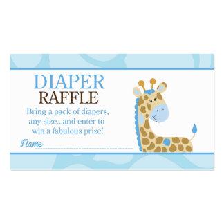 Blue Giraffe Jungle Baby Shower Diaper Raffle Pack Of Standard Business Cards