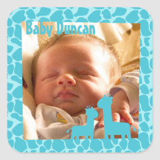 Blue giraffe pattern for baby boy annoucement square sticker