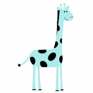Blue Giraffe Pin Photo Sculpture Badge