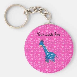 Blue giraffe pink hearts key chain
